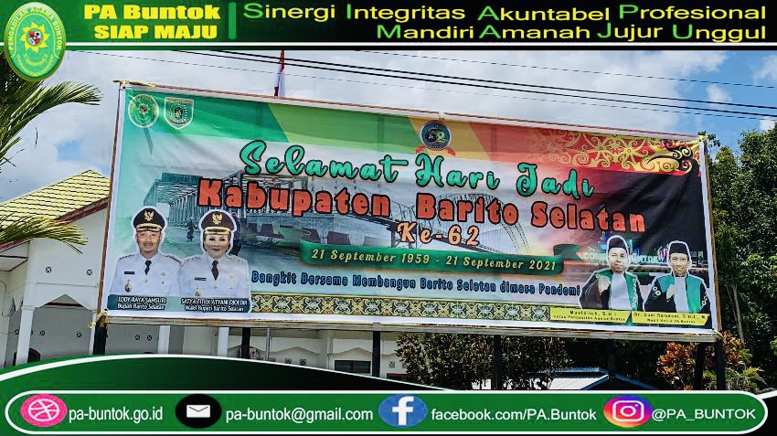 Pemasangan Spanduk HUT Kabupaten Barito Selatan ke-62 di Pengadilan Agama Buntok
